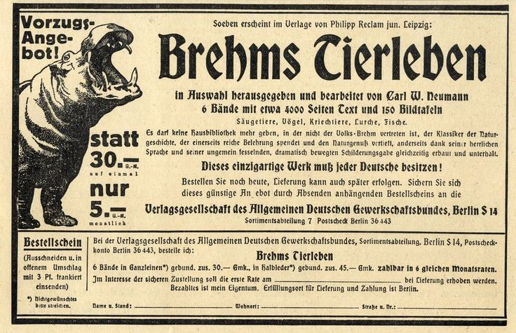 Verlag Philipp Reclam jun. Leipzig Brehms Tierleben Carl W. Neumann 1924