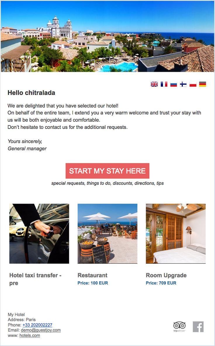 7 best pre arrival emails images on pinterest. Black Bedroom Furniture Sets. Home Design Ideas