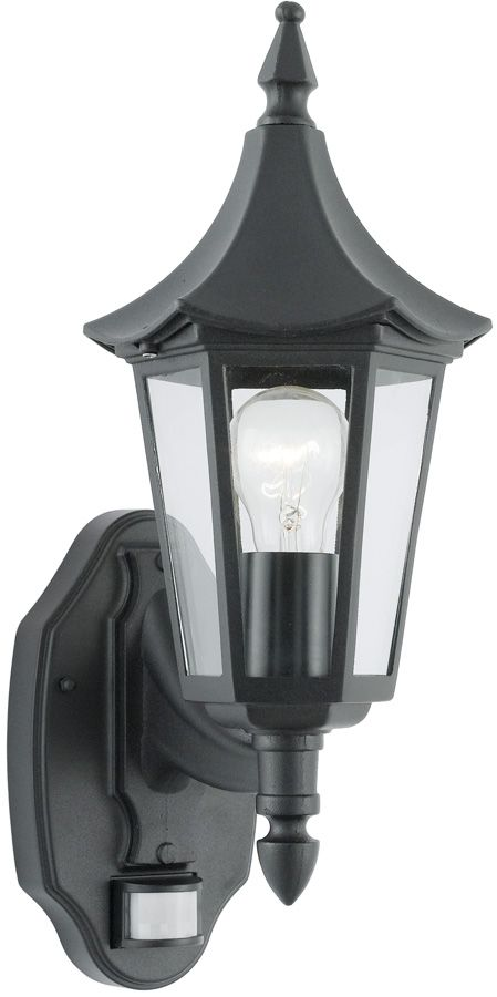 Traditional Black Finish Outdoor PIR Wall Light