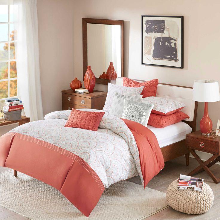 inkivy muriel 3piece reversible fullqueen comforter set in coral