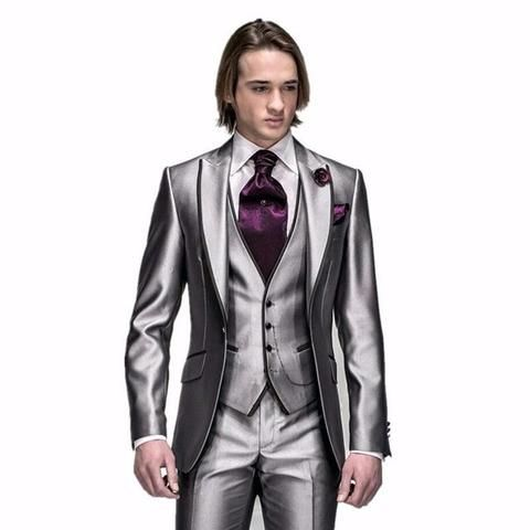 2016 Custom made Mens Light Grey Suits Fashion Formal Dress Men Suit Set men wedding suits groom tuxedos(Jacket+Pants+Vest+Tie)