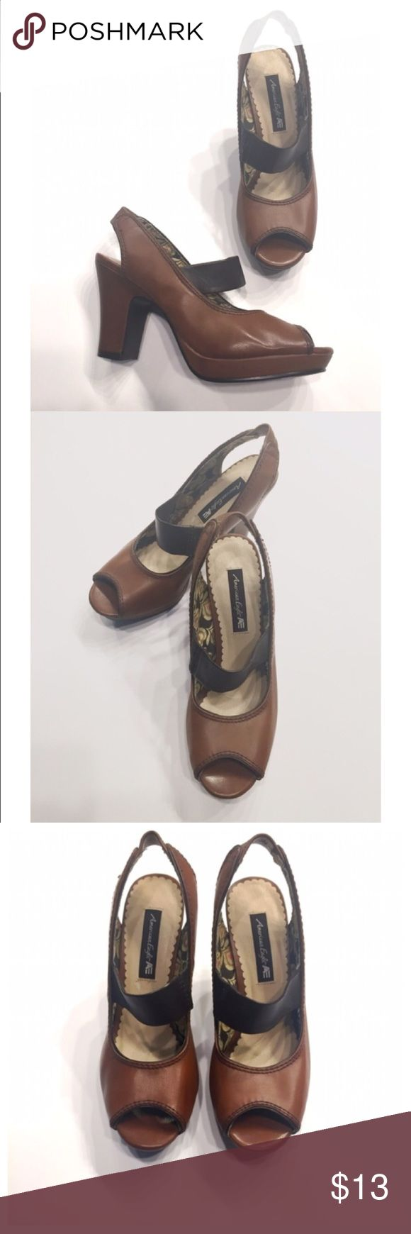 Brown Peep Toe Chunky Heels from American Eagle Brown Peep Toe Chunky Heels from American Eagle...NWT...size 6.5 American Eagle Outfitters Shoes Heels