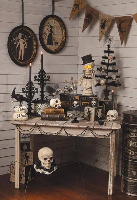 Poe-inspired vignette - lots of fun individual ideas incorporated. Find  this Pin and more on Halloween Interior Decor ...