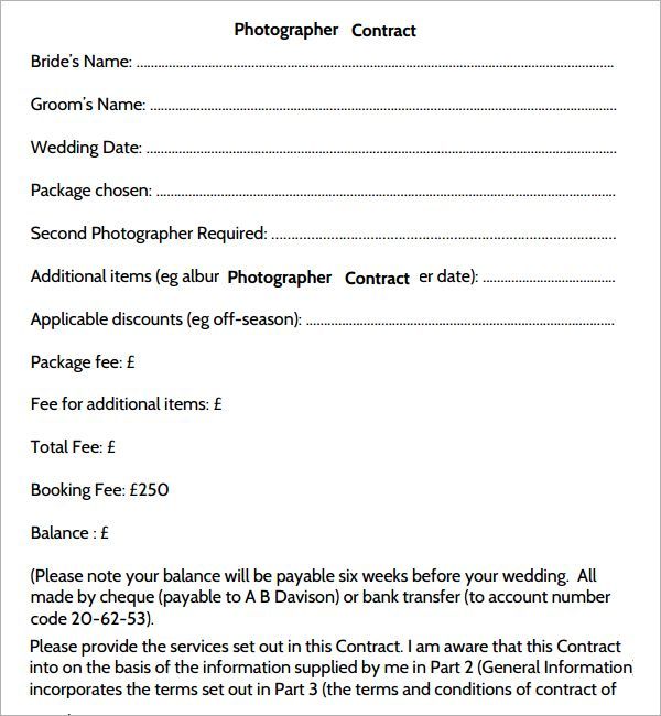 Photography Contract Photography Contract Template Mesmerizing