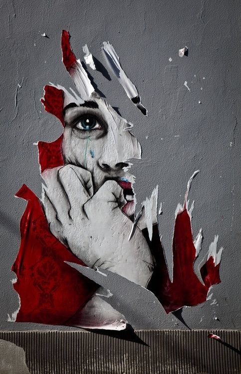 Hans Cras - Spontaneous street art.  The brewing emotion from being ripped, conveys the point that something has been taken from her.
