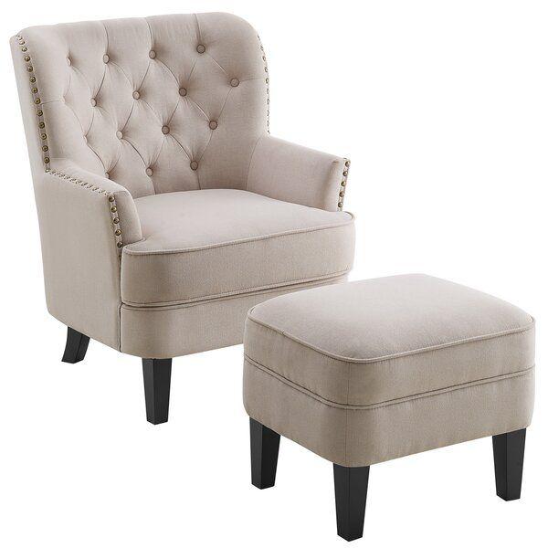Elroy Wingback Chair And Ottoman In 2020 Chair And Ottoman Ottoman Wingback Chair