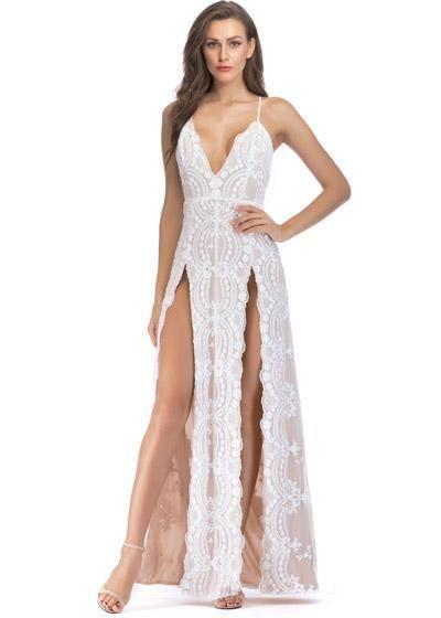 834308e35 Compre Vestido de Festa Longo Paetê com Fenda Branco | UFashionShop