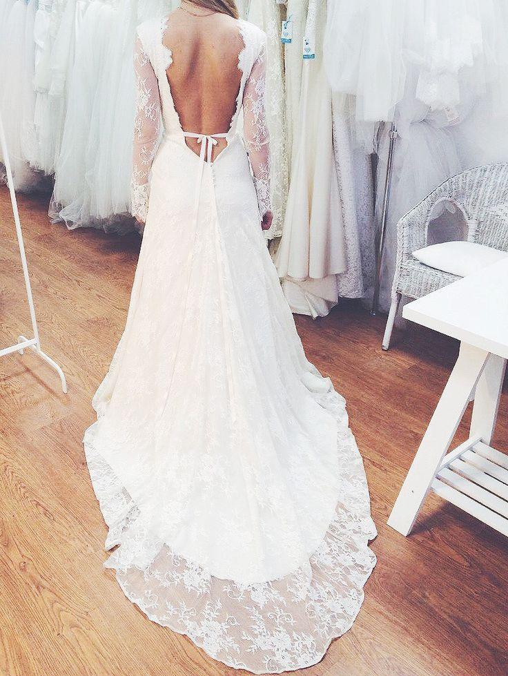 Кружевное свадебное платье с открытой спиной Lace wedding dress