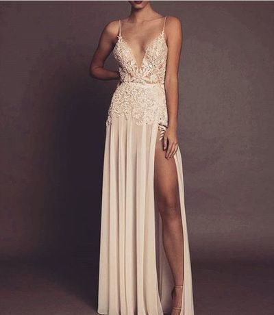 spaghetti Long party dress Sexy V-neckline prom dress Champagne Open Back evening Dress