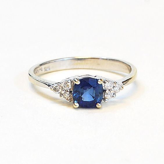 Handmade Cushion Cut Blue Sapphire and Diamond Engagement Ring in 14k White Gold
