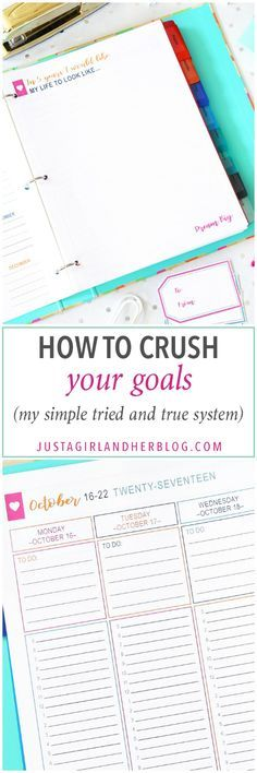How To Crush Your Goals. Goal Setting. Printables.