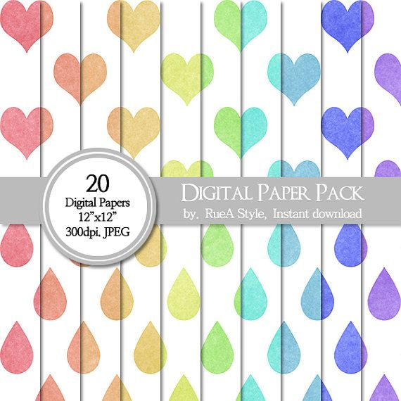 SALE 20 Digital Paper Pack heart design Rain drop by rueastyle