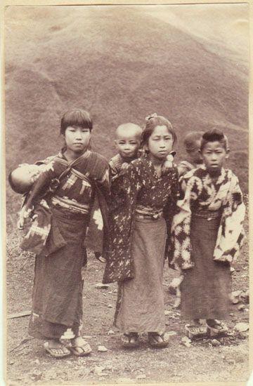Japanese Children. Albumen Photo from app. 1880s.