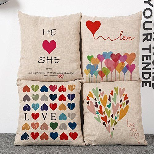 Colorful Love Heart Sofa Throw Pillow Covers Valentine's Day Cushion Decoration  #Yifan