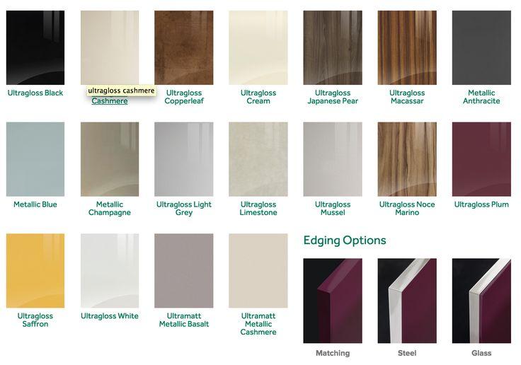The complete Zurfiz range. Highgloss kitchen/bedroom doors. Matt kitchen/bedroom doors.