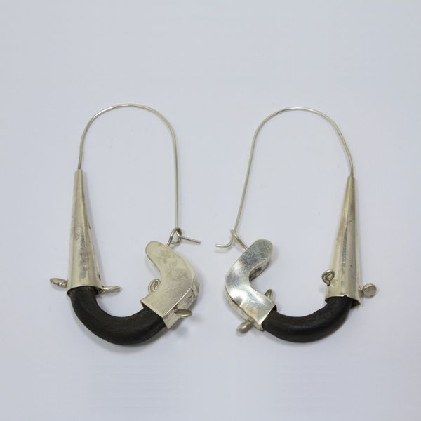 Tahta & Gümüş Küpe (Wooden & Silver Earring)