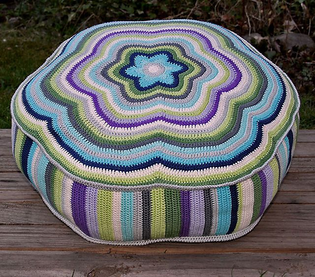 "Ravelry: POUF ""CAMILLA"" - Crochet Pattern, PDF, Cushion pattern by CAROcreated design"