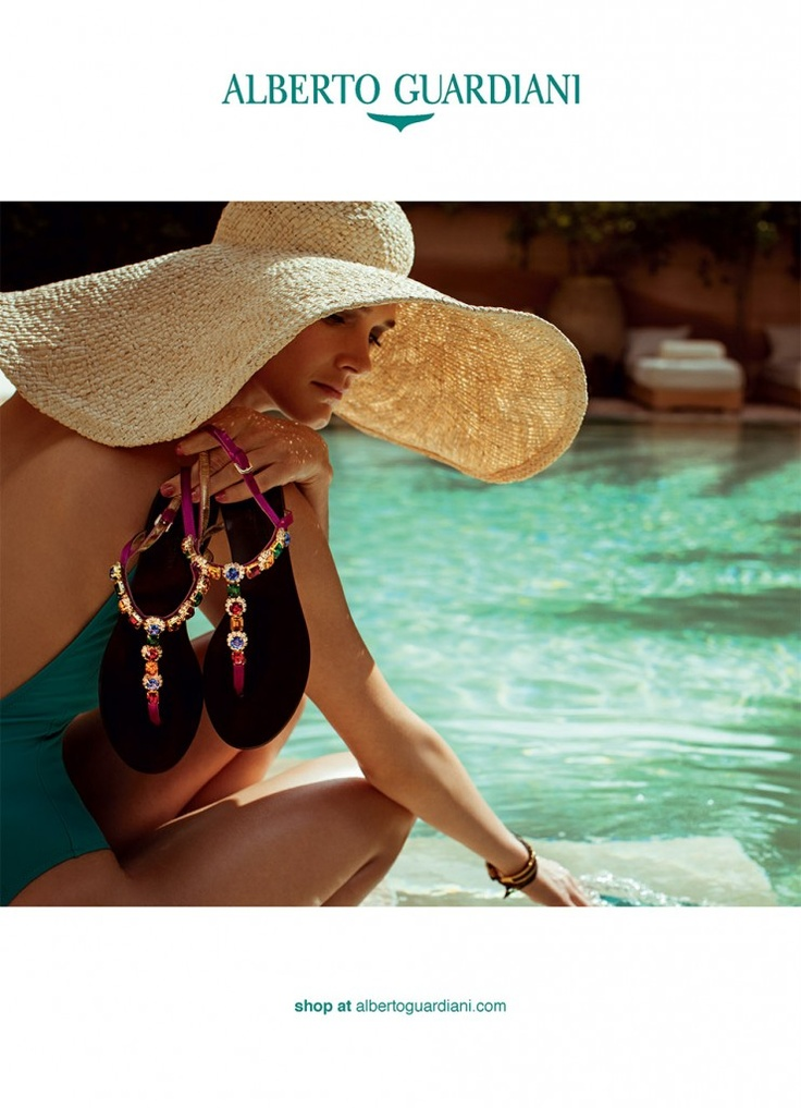 Alberto Guardiani SS13 Ad Campaign #women #fashion #shoes #turquoise #pink #flat #sandals #jewelled #straw #hat #swimming #pools