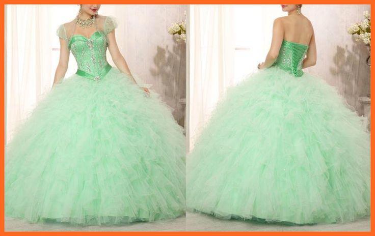 imagenes de vestidos de xv años verde menta con rosa - Buscar con Google