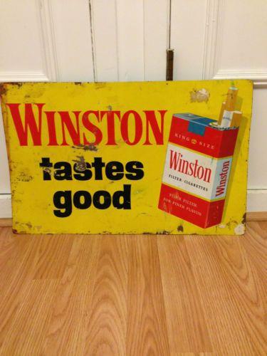 VTG WINSTON ADVERTISING DISPLAY TIN TASTES GOOD CIGARETTE SIGN SMOKE SHOP SMOKER