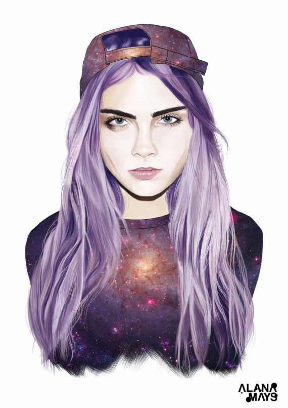 Cara Delevingne  Art print digital art by AlanaMaysCreations on easy, from $15 for an A5, digital painting, etsy business, fashion illustration, watercolour, printable wall art, art print, girls gift, home decor, birthday girl,bedroom decor, victoria secret model, galaxy, galaxy top, cap