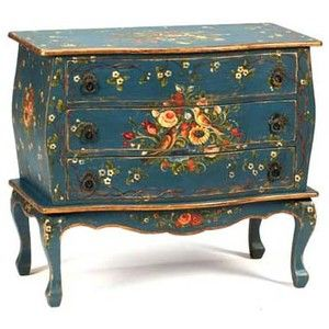 painted furniture with birds | ... . Hand Painted Blue Bombe Chest with Bird and Flower Motif