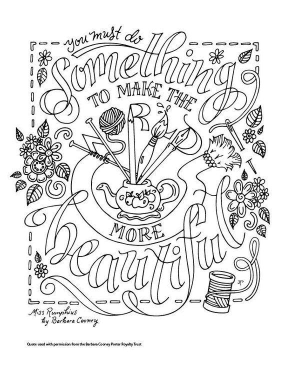 Miss Rumphius Coloring Page Barbara Cooney Quotes Children S