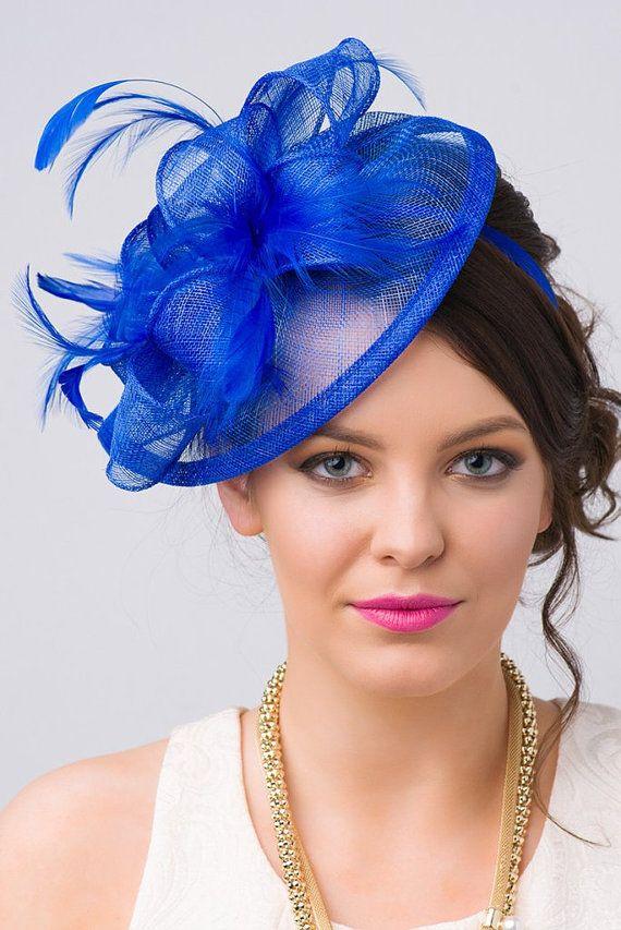 Royal Blue Fascinator Penny Mesh Hat Fascinator by PippaAndPearl