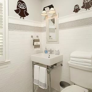 Harry Braswell Inc   Bathrooms   Boyu0027s Bathroom Owl Boyu0027s Bathroom Owl  Themed Bathroom, Owl Decals, Gray Walls, Gray Paint, Hex Tiles, Hex Tile  Floor, ... Part 66