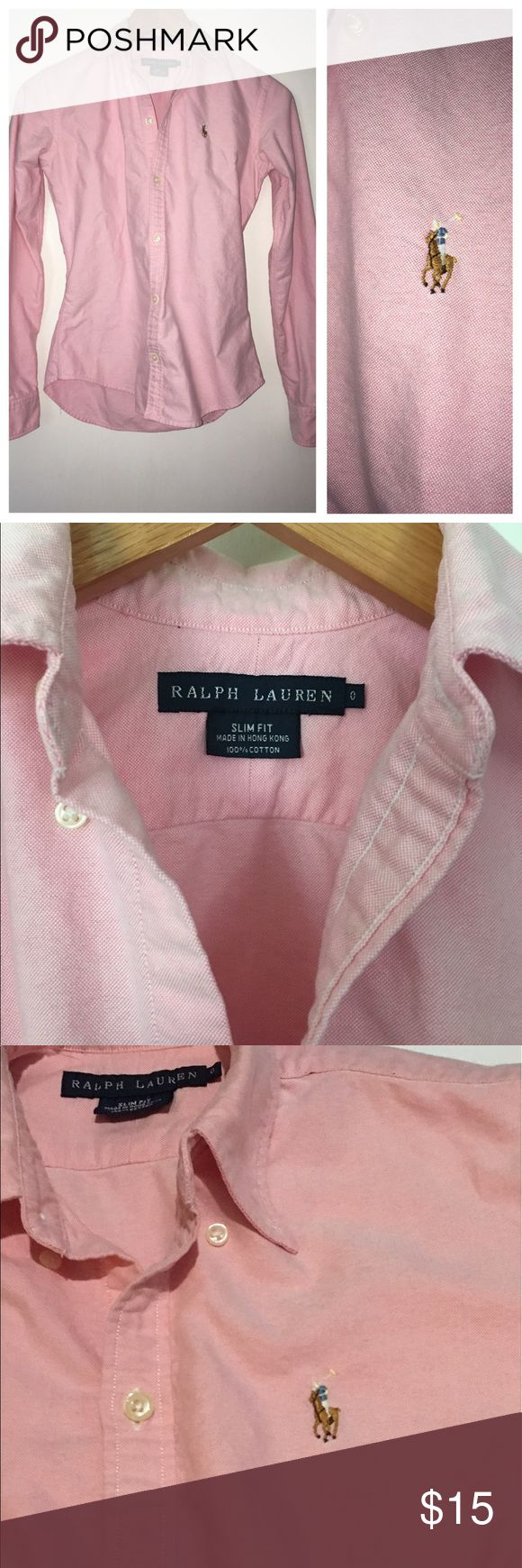 Pink Ralph Lauren slim fit button down Classic light pink Ralph Lauren slim fit button down shirt, size 0.  Top is in excellent condition with no rips, stains, or flaws! Ralph Lauren Tops Button Down Shirts