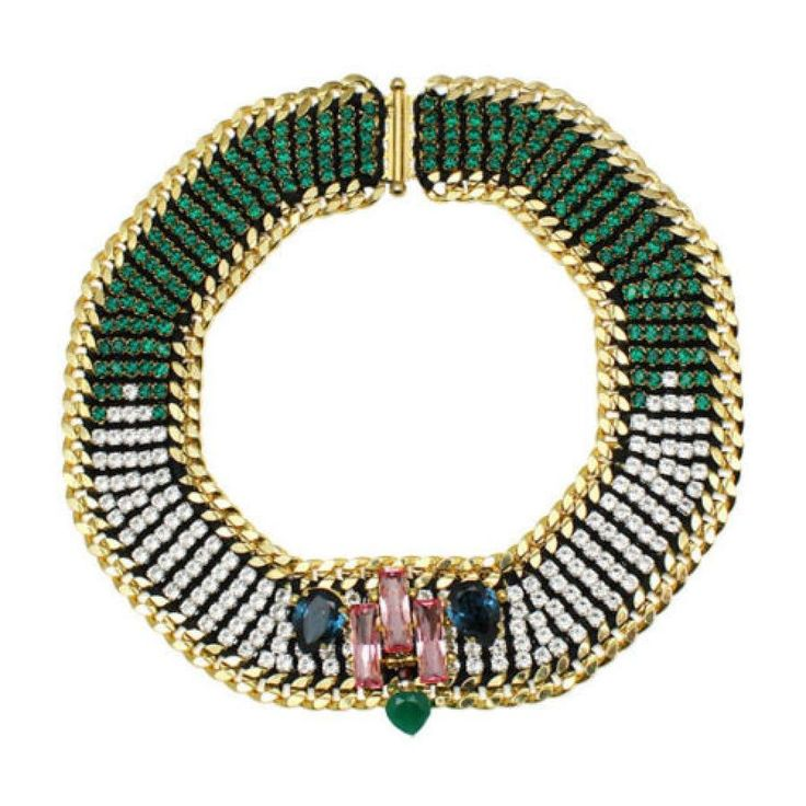 Akong London 24K Gold Plated Green Onyx Necklace