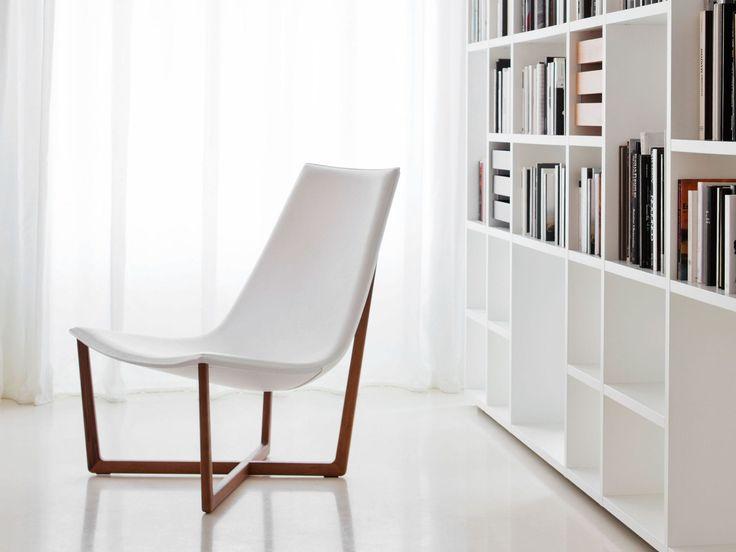 Contemporary armchair / sled base / leather / ash JADE + SHAHAN Porro