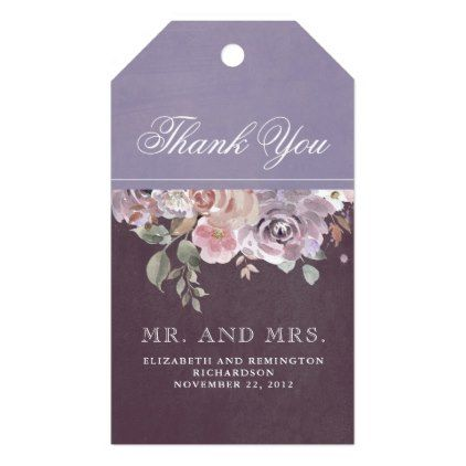 Mauve Plum and Lilac Vintage Floral Wedding Gift Tags - floral style flower flowers stylish diy personalize