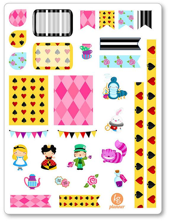 Alice in Wonderland Decorating Kit / Weekly Spread Planner Stickers for Erin Condren Planner, Filofax, Plum Paper