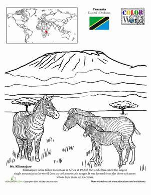 tanzania mount kilimanjaro zebras savannah coloring page