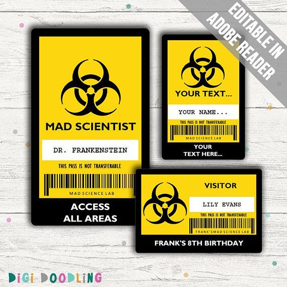 Science Party Id Badge Mad Scientist Id Badge Template Editable Pdfs Instant Download In 2021 Science Party Mad Science Party Mad Scientist Halloween