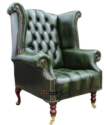 Chesterfield Dorchester High Back Wing Chair Antique Green Leather Armchair