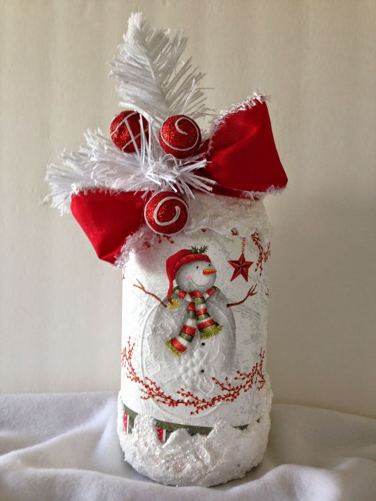 Purple Hues and Me: Decoupage Christmas Napkins on Mason Jar With Snow
