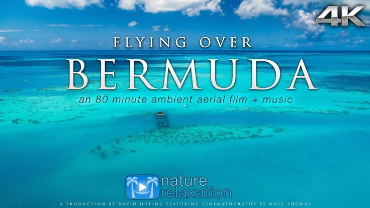 Tropical Island Beach Ambience Sound: FLYING OVER BERMUDA (4K UHD Version!) Ambient Aerial/Drone