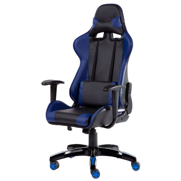Costway High Back Racing Style Gaming Chair Reclining Office Executive Task Computer (Blue+Black)