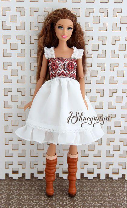 """Одежда для кукол ручной работы. Платье-сарафан для куклы """"Country"""". Ирина Швейная. Ярмарка Мастеров. Кукольное платье, тесьма"""