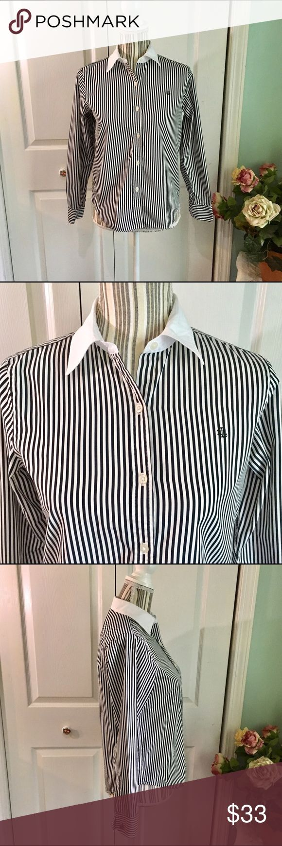 LAUREN RALPH LAUREN Petites Striped Oxford Shirt This Lauren Ralph Lauren Petite oxford blouse is black and white stripe with white collar and cuffs and embellished cuff buttons. Perfect for work or the weekend. LRL logo on left chest.   Size SP, measurements are approximate: - 18 inches underarm to underarm  - 23 inch sleeves  - 24 inches shoulder to hem   No stains, holes, rips, pilling. Lauren Ralph Lauren Tops Button Down Shirts
