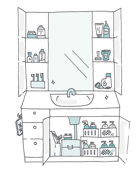 Bathroom cupboard organization Marie Kondo Spark Joy