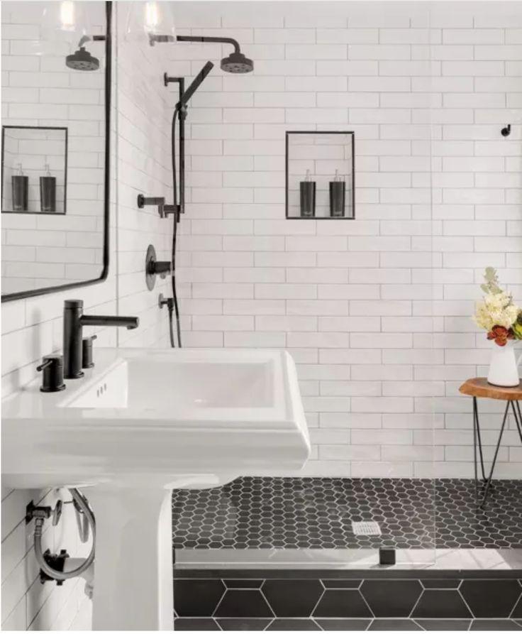 Zen Bathroomdesign Ideas: Hexagonal Floor Tiles With Subway Tiles On Walls