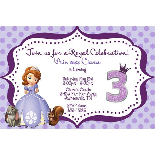 Sofia the First Princess Photo Birthday Invitation Purple