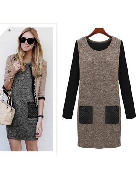 Long Sleeve Skirt Patchwork Bottoming Dress With Pockets