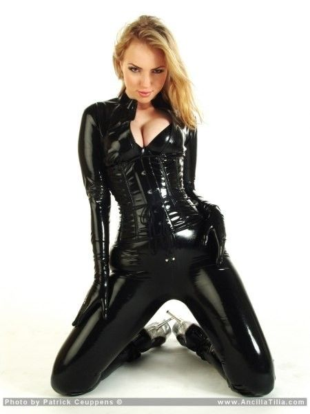 a4a41f29f7b58 Ancilia Tilia in a superb black PVC Catsuit
