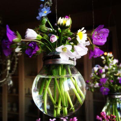 Hengende Vase av gamle lyspærer