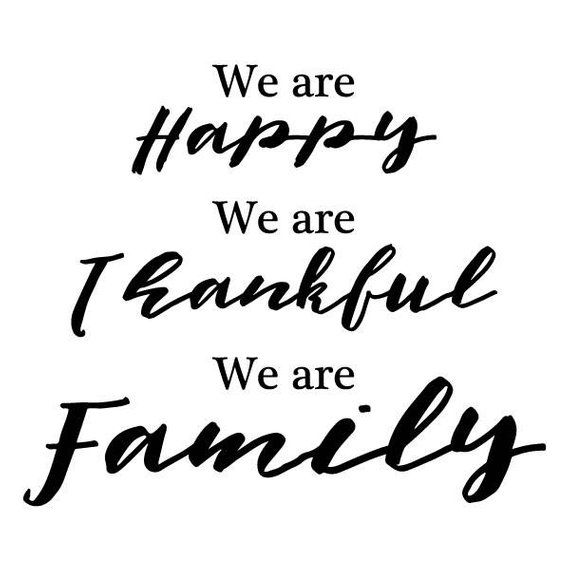 Wall Quote Decal Happy Thankful Family Wall Decal Home