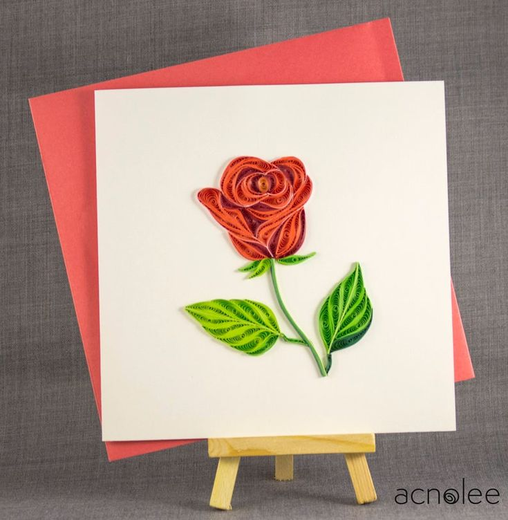 3d handmade card quilling card quilled rose love card